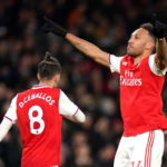 Arsenal's Pierre-Emerick Aubameyang celebrates scoring his side's during a Premier League match at The Emirates Stadium, London.