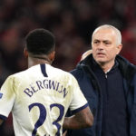 Tottenham Hotspur's Steven Bergwijn shakes hands with manager Jose Mourinho after the UEFA Champions League