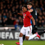 Manchester United's Anthony Martial scores his side's first goal of the game during the UEFA Europa League round of 32 first leg match at the Jan Breydel Stadium, Bruges.