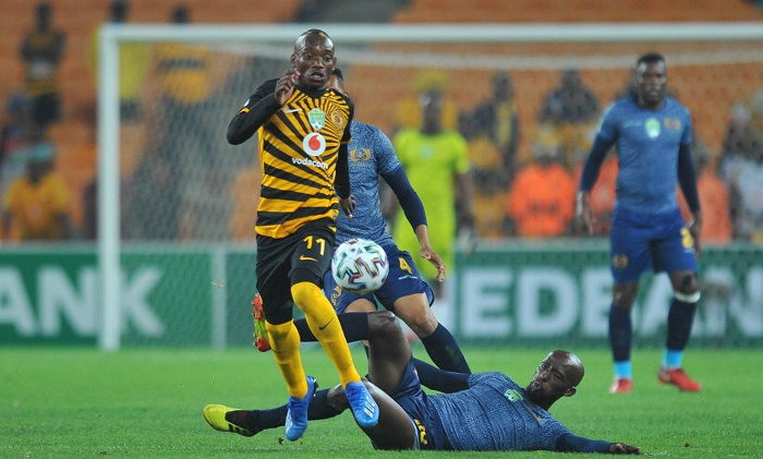 Khama Billiat of Kaizer Chiefs tackled by Mpho Maruping of Royal Eagles during the Nedbank Cup Last 32 match