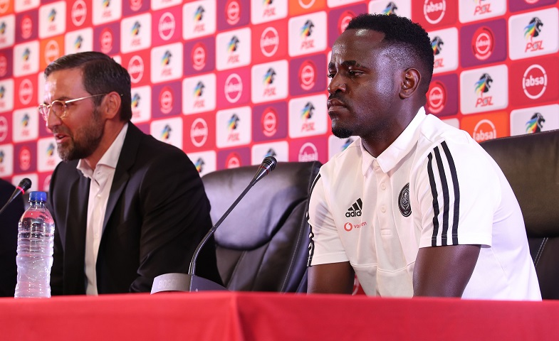 Gabadinho Mhango with Josef Zinnbauer, coach of Orlando Pirates during the Absa Premiership 2019/20 Coach and Player of the Month at the PSL Offices, Johannesburg on the 13 February 2020 ©Muzi Ntombela/BackpagePix