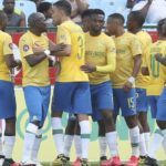 Themba Zwane of Mamelodi Sundowns celebrates his goal with teammates
