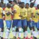 Themba Zwane of Mamelodi Sundowns celebrates his goal with teammates