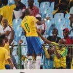 Hlompho Kekana of Mamelodi Sundowns celebrates goal during the Absa Premiership 2019/20 match between Mamelodi Sundowns and Bloemfontein Celtic at Loftus Versfeld Stadium.