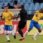 Hlompho Kekana annd Gaston Sirino of Mamelodi Sundowns during the Absa Premiership 2019/20 match against and Bloemfontein Celtic