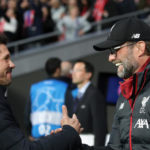 Atletico Madrid manager Diego Simeone greets Liverpool manager Jurgen Klopp