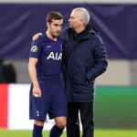 Tottenham Hotspur manager Jose Mourinho and Harry Winks appear dejected after the final whistle at the UEFA Champions League round of 16 second leg match at the Red Bull Arena, Leipzig.