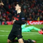 Alvaro Morata of Atletico Madrid celebrates after scoring his team's third goal during the UEFA Champions League round of 16 second leg match between Liverpool FC and Atletico Madrid