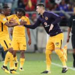 George Maluleka celebrates goal with teammate Lorenzo Gordinho of Kaizer Chiefs during 2017 Telkom Knockout match against and AmaZulu