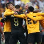 Ernst Middendorp, coach of Kaizer Chiefs celebrates with players after victory in the Soweto derby