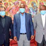Minister of Sport, Arts and Recreation Nathi Mthethwa, SAFA President Dr Danny Jordaan and PSL President Dr Irvin Khoza