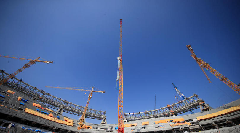 Construction continues on the Lusail Stadium in Lusail, Qatar for the 2022 World Cup