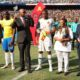 Hlompho Kekana of Mamelodi Sundowns, Nathi Mthethwa, Itumeleng Khune of Kaizer Chiefs before a PSL clash between Downs and Chiefs