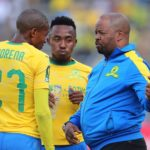 Manqoba Mngqithi, assistant coach of Sundowns instructs Thapelo Morena during the 2018/19 CAF Champions League football match between Sundowns and Al Ahly at Lucas Moripe Stadium,