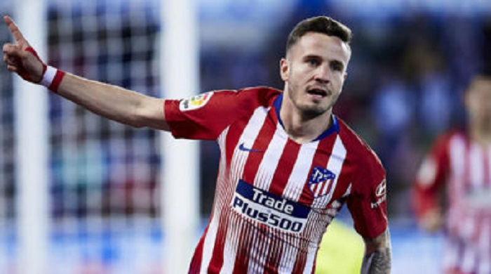 Saul Niguez celebrates after scoring during the La Liga soccer match between Deportivo Alaves and Club Atletico de Madrid at Mendizorrotza stadium.