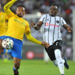 Gabadinho Mhango of Orlando Pirates challenges Motjeka Madisha of Mamelodi Sundowns during Absa Premiership match between Orlando Pirates and Black Leopards on 15 January 2020 at Orlando Stadium, Pic BackpagePix