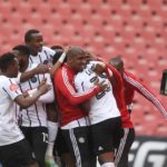 Zakhele Lepasa celebrates goal during the Absa Premiership match between Orlando Pirates and Supersport United