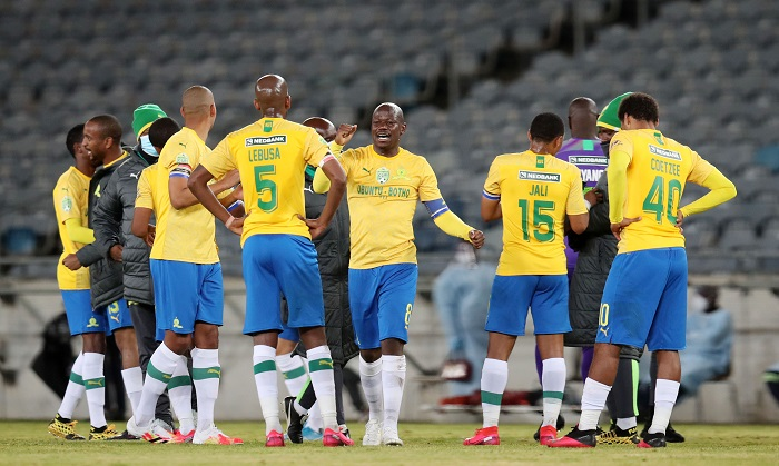 Hlompho Kekana of Mamelodi Sundowns celebrates victory with teammates during the 2020 Nedbank Cup Semifinals match between Mamelodi Sundowns and Bidvest Wits