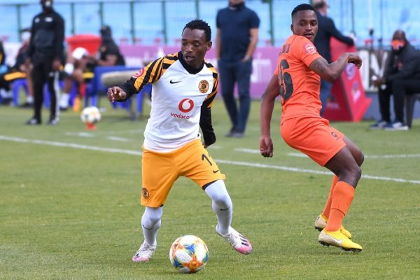 Khama Billiat of Kaizer Chiefs challenged by Mpho Mvelase of Polokwane City