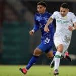 Ali Meza of Mamelodi Sundowns challenged by Rushine De Reuck of Maritzburg United