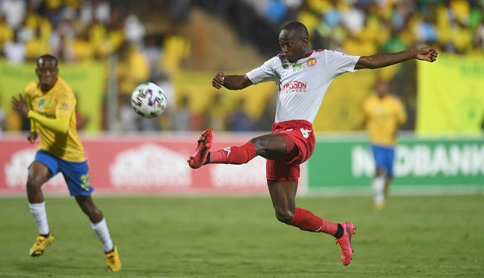 Peter Shalulile of Highlands Park during the 2020 Nedbank Cup Quarter Finals match between Highlands Park and Mamelodi Sundowns