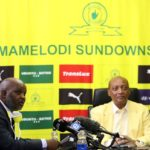 Pitso Mosimane, coach of Mamelodi Sundowns with Patrice Motsepe, Chairman of Mamelodi Sundowns