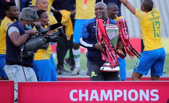 Pitso Mosimane, coach of Mamelodi Sundowns celebrates winning the Absa Premiership 2019/20 title