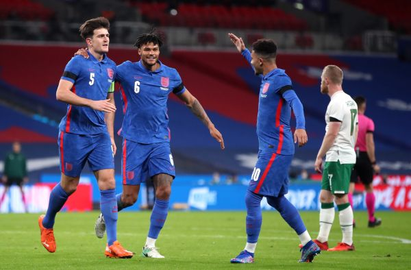 Harry Maguire celebrates for England