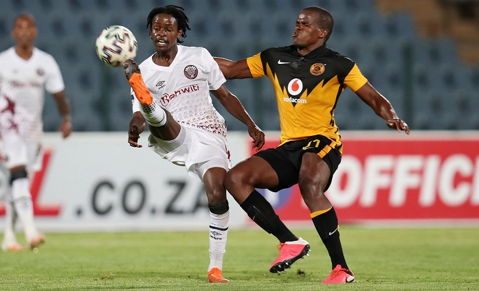 Given Moikhomotsi Thibedi of Swallows challenged by Willard Katsande of Kaizer Chiefs