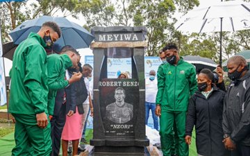 Gallery: Bafana honours Meyiwa at tombstone unveiling