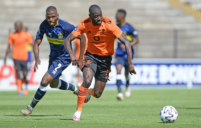 Deon Hotto of Orlando Pirates pulls away from Thamsanqa Mkhize of Cape Town City