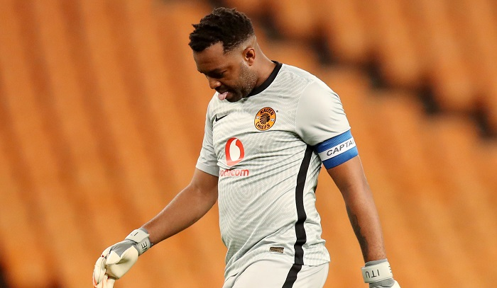 Itumeleng Khune of Kaizer Chiefs dejected after an error against Black Leopards
