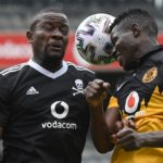 Anthony Agay of Kaizer Chiefs challenges Ntsikelelo Nyauza of Orlando Pirates