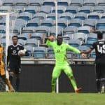 Richard Ofori of Orlando Pirates celebrates saving a penalty against Kaizer Chiefs