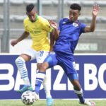 Gaston Sirino of Mamelodi Sundowns challenged by Keena Philips of Supersport United