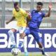 Gaston Sirino of Mamelodi Sundowns challenged by Keena Philips of Supersport United