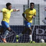 Kermit Erasmus of Mamelodi Sundowns celebrates goal with Themba Zwane