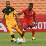 Reeve Frosler of Kaizer Chiefs challenged Enoch Atta Agyei of Horoya AC