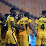 Erick Mathoho of Kaizer Chiefs celebrates his goal with teammates during the 2021 CAF Champions League match against Pedro De Luanda