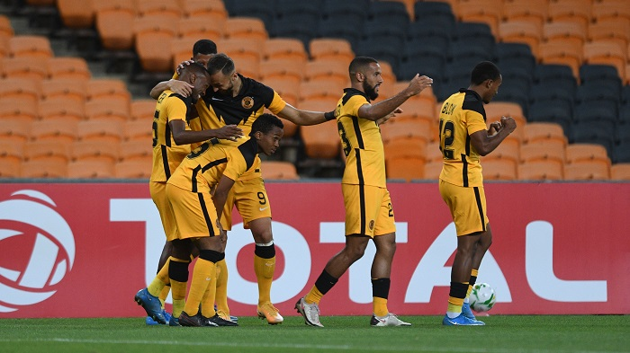Bernard Parker of Kaizer Chiefs celebrates goal with teammates during the 2021 CAF Champions League match between Kaizer Chiefs and Wydad Casablanca