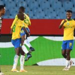 Lesedi Kapinga of Mamelodi Sundowns celebtates goal with teammates during the 2021 Nedbank Cup Quarterfinal match between the Brazilians and Orlando Pirates