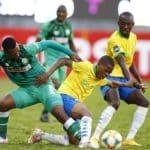 Thembela Sikhakhane of AmaZulu and Sphelele Mkhulise of Mamelodi Sundowns FC