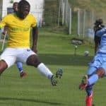 Riaan Hanamub of Chippa United and Aubrey Modiba of Mamleodi Sundowns