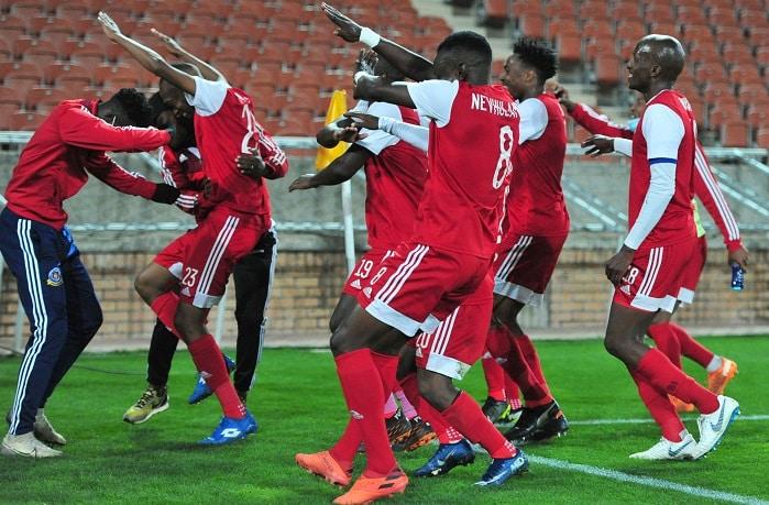 Lehlohonolo Nonyane of Tshakhuma Tsha Madzivhandila celebrates his winning goal against Kaizer Chiefs