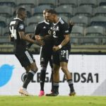 Tshegofatso Mabasa of Orlando Pirates celebrates his goal against Black Leopards
