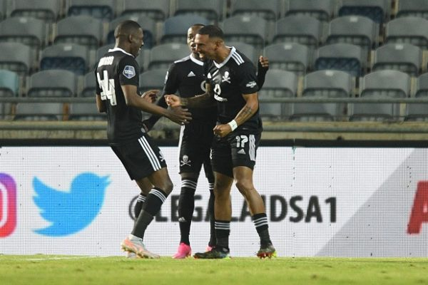 Tshegofatso Mabasa of Orlando Pirates celebrates his goal against Black Leopards