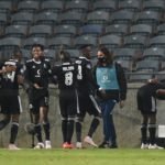 Tshegofatso Mabasa of Orlando Pirates celebrateshis goal against Black Leopards