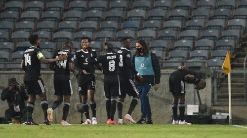 Tshegofatso Mabasa of Orlando Pirates celebrateshis goal against Black Leopards