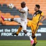 Leonardo Castro of Kaizer Chiefs challenged by Njabulo Ngcobo of Swallows FC