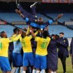 Steve Komphela, assistant coach of Mamelodi Sundowns celebrates with players